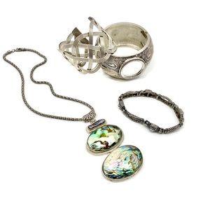 Silver Abalone Shell Necklace + Bracelet Bundle